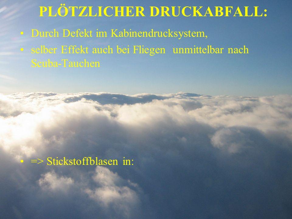 PLÖTZLICHER DRUCKABFALL: Durch Defekt im Kabinendrucksystem, selber Effekt auch bei Fliegen unmittelbar nach Scuba-Tauchen => Stickstoffblasen in: