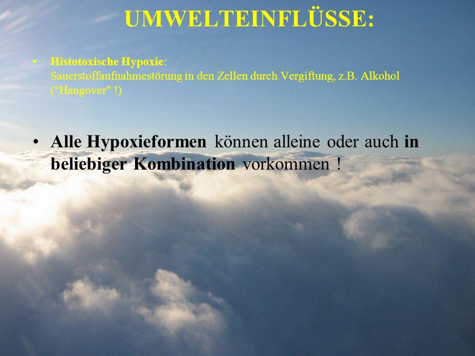 UMWELTEINFLÜSSE: Histotoxische Hypoxie: Sauerstoffaufnahmestörung in den Zellen durch Vergiftung, z.B. Alkohol (