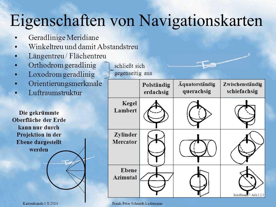 Kartenkunde 1/8/2014Frank-Peter Schmidt-Lademann Eigenschaften von Navigationskarten Geradlinige Meridiane Winkeltreu und damit Abstandstreu Längentre