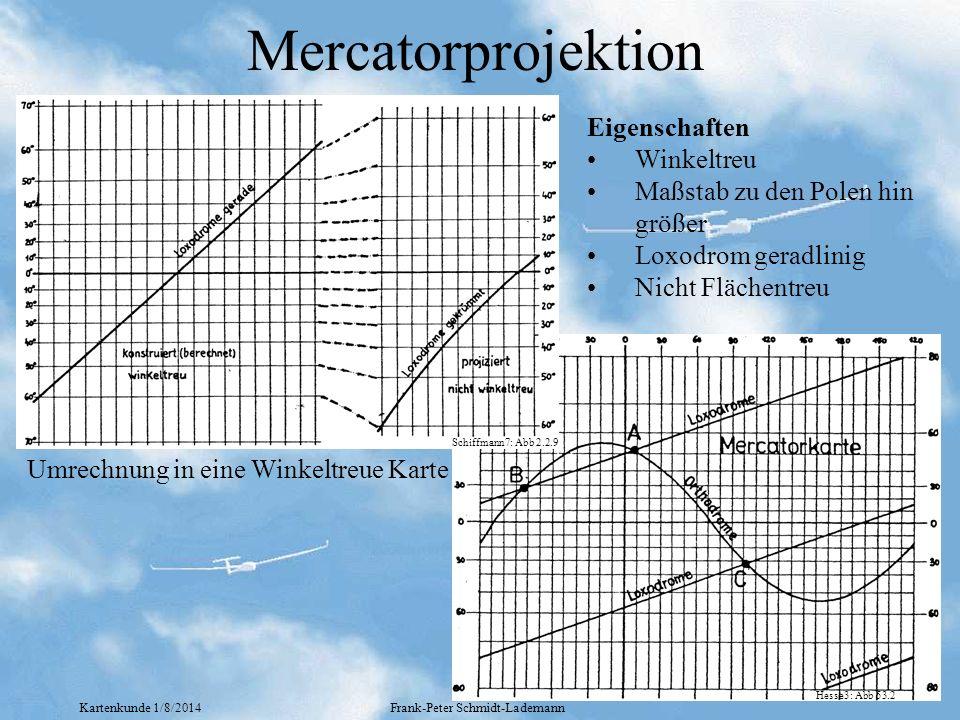 Kartenkunde 1/8/2014Frank-Peter Schmidt-Lademann Mercatorprojektion Umrechnung in eine Winkeltreue Karte Eigenschaften Winkeltreu Maßstab zu den Polen