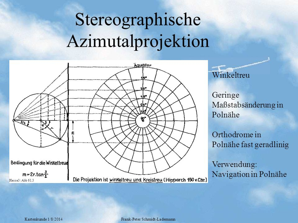 Kartenkunde 1/8/2014Frank-Peter Schmidt-Lademann Stereographische Azimutalprojektion Winkeltreu Geringe Maßstabsänderung in Polnähe Orthodrome in Poln
