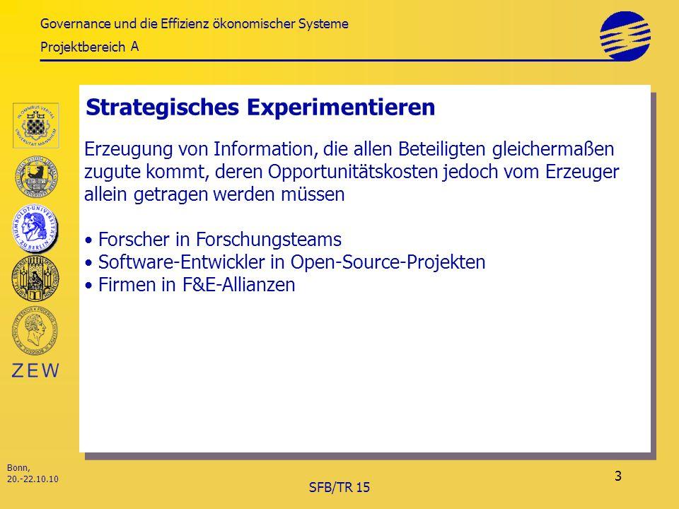 Governance und die Effizienz ökonomischer Systeme Projektbereich Bonn, 20.-22.10.10 SFB/TR 15 3 Strategisches Experimentieren A Erzeugung von Information, die allen Beteiligten gleichermaßen zugute kommt, deren Opportunitätskosten jedoch vom Erzeuger allein getragen werden müssen Forscher in Forschungsteams Software-Entwickler in Open-Source-Projekten Firmen in F&E-Allianzen