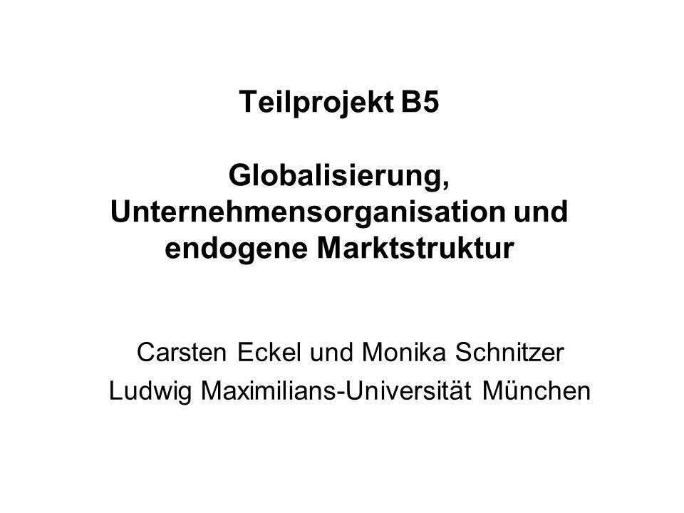 Zukünftiges Teilprojekt: (1)Globalisierung und Service FDI –Bestimmungsfaktoren von internationalen Expansionsstrategien im Dienstleistungsgewerbe (im Unterschied zum verarbeitenden Gewerbe) (2)Globalisierung und Innovation –Einfluss von F+E-Intensitität auf internationale Expansionsstrategie –Einfluss von Globalisierung auf Innovationstätigkeit (Endogenisierung der Unternehmensproduktivität) Rückwirkungen der Unternehmensstrategien auf die Marktstruktur Bisheriges Teilprojekt: Auswirkungen der Globalisierung auf die Governance-Strukturen von Unternehmen (Organisationsstruktur und Finanzierungsstruktur)