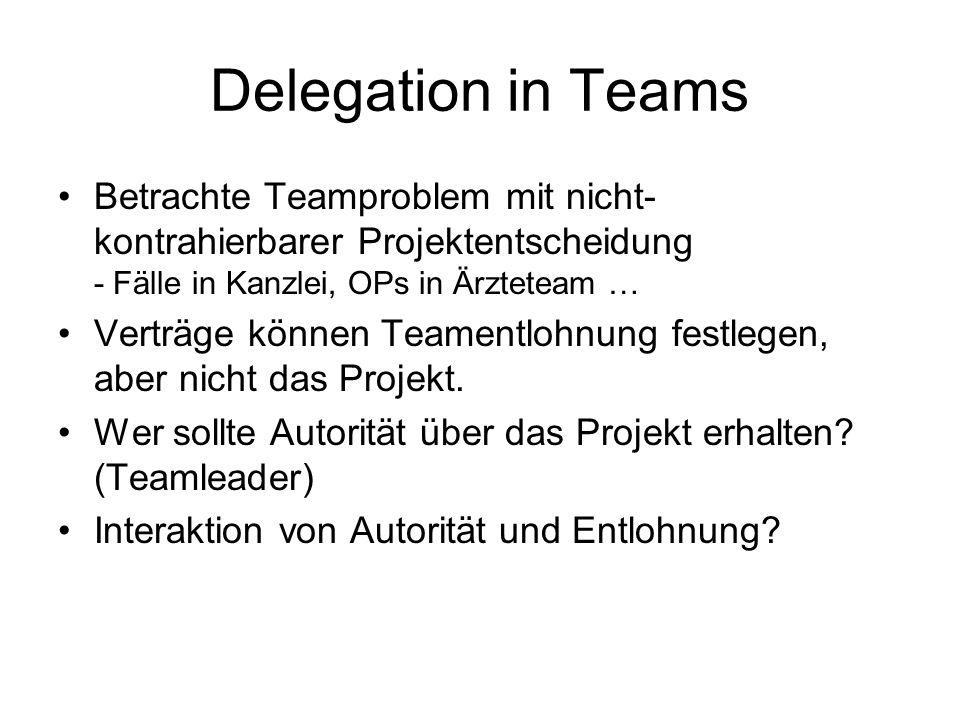 Delegation in Teams Betrachte Teamproblem mit nicht- kontrahierbarer Projektentscheidung - Fälle in Kanzlei, OPs in Ärzteteam … Verträge können Teamen