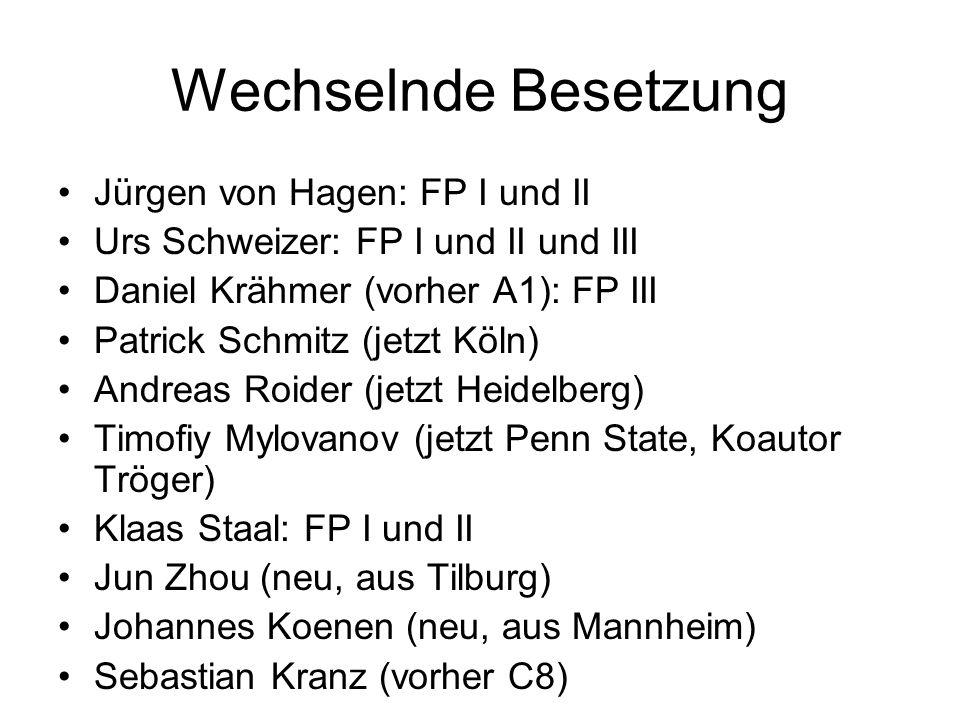 Wechselnde Besetzung Jürgen von Hagen: FP I und II Urs Schweizer: FP I und II und III Daniel Krähmer (vorher A1): FP III Patrick Schmitz (jetzt Köln)