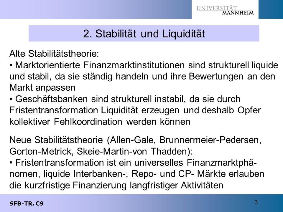 SFB-TR, C9 3 2. Stabilität und Liquidität Alte Stabilitätstheorie: Marktorientierte Finanzmarktinstitutionen sind strukturell liquide und stabil, da s