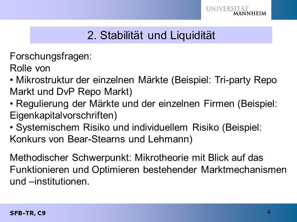 SFB-TR, C9 4 2. Stabilität und Liquidität Forschungsfragen: Rolle von Mikrostruktur der einzelnen Märkte (Beispiel: Tri-party Repo Markt und DvP Repo