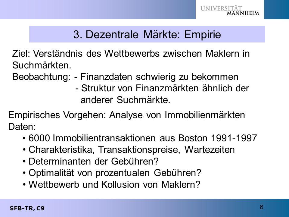 SFB-TR, C9 6 3. Dezentrale Märkte: Empirie Empirisches Vorgehen: Analyse von Immobilienmärkten Daten: 6000 Immobilientransaktionen aus Boston 1991-199