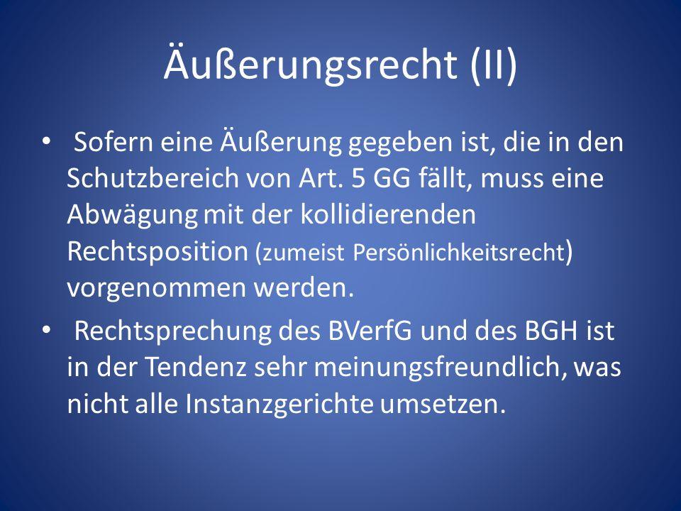 Äußerungsrecht (II) Sofern eine Äußerung gegeben ist, die in den Schutzbereich von Art. 5 GG fällt, muss eine Abwägung mit der kollidierenden Rechtspo