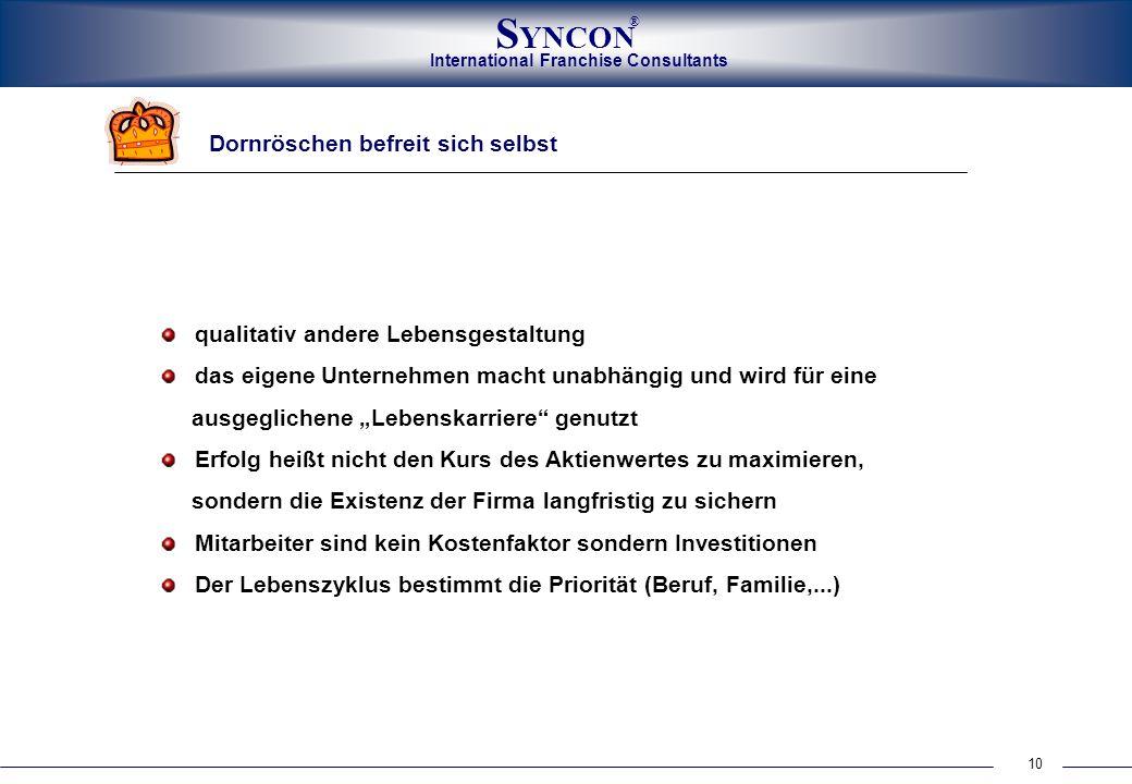 International Franchise Consultants S YNCON ® 10 Dornröschen befreit sich selbst qualitativ andere Lebensgestaltung das eigene Unternehmen macht unabh