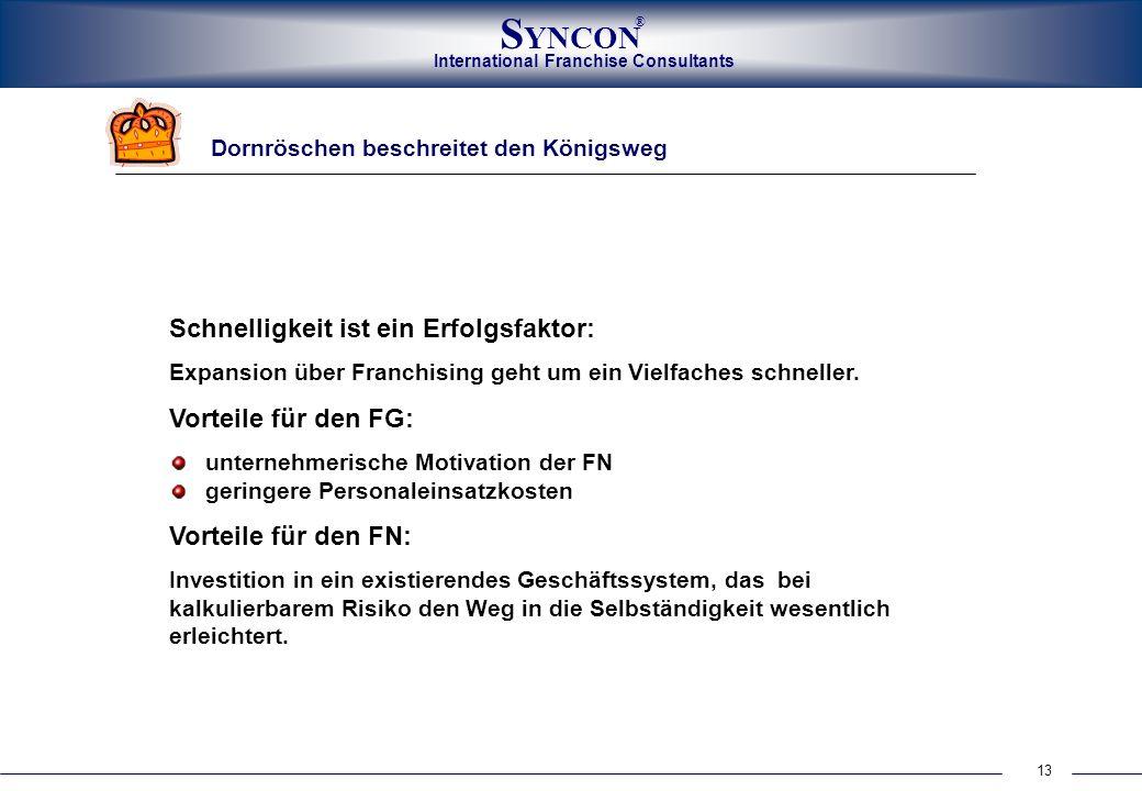 International Franchise Consultants S YNCON ® 13 Dornröschen beschreitet den Königsweg Schnelligkeit ist ein Erfolgsfaktor: Expansion über Franchising