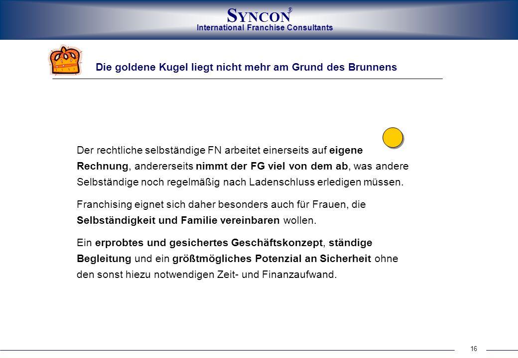 International Franchise Consultants S YNCON ® 16 Die goldene Kugel liegt nicht mehr am Grund des Brunnens Der rechtliche selbständige FN arbeitet eine