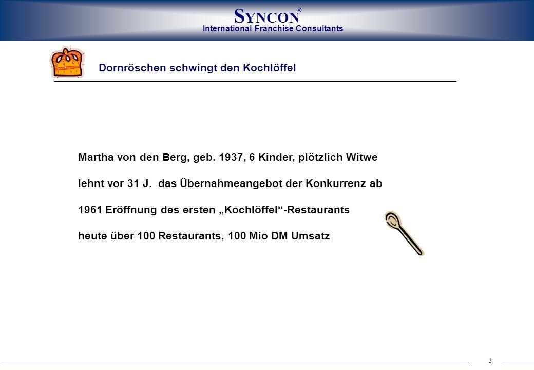 International Franchise Consultants S YNCON ® 3 Dornröschen schwingt den Kochlöffel Martha von den Berg, geb. 1937, 6 Kinder, plötzlich Witwe lehnt vo