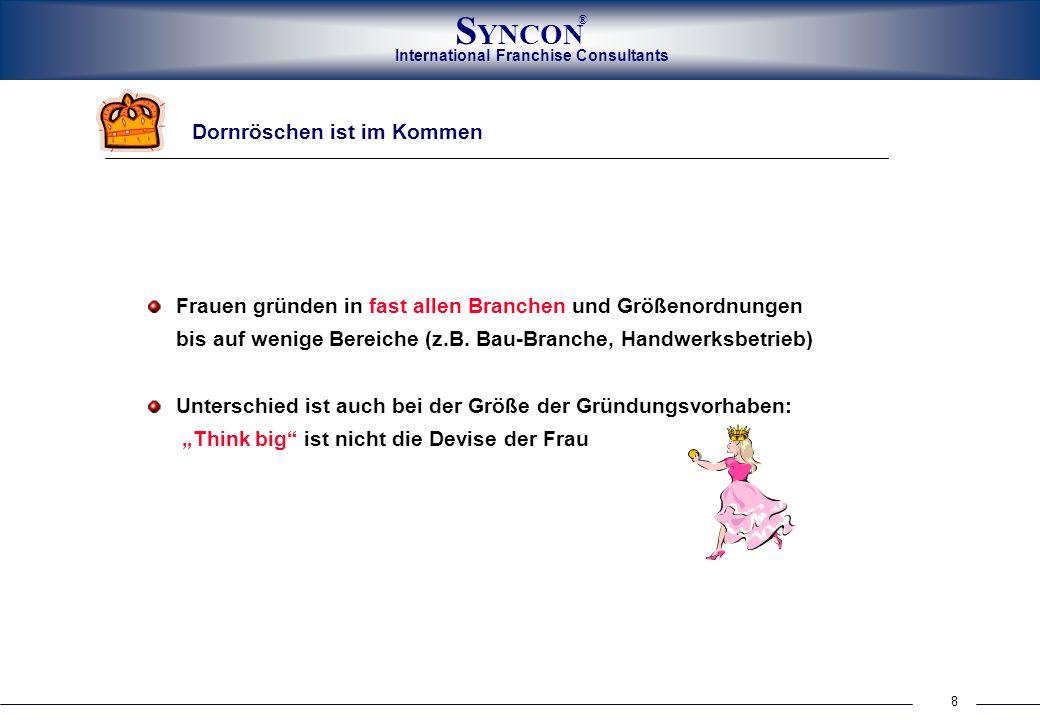 International Franchise Consultants S YNCON ® 8 Dornröschen ist im Kommen Frauen gründen in fast allen Branchen und Größenordnungen bis auf wenige Ber
