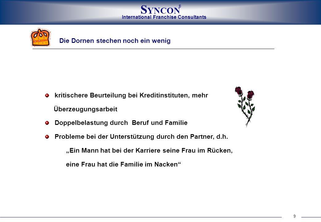 International Franchise Consultants S YNCON ® 9 Die Dornen stechen noch ein wenig kritischere Beurteilung bei Kreditinstituten, mehr Überzeugungsarbei