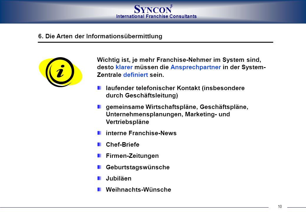 10 International Franchise Consultants S YNCON ® laufender telefonischer Kontakt (insbesondere durch Geschäftsleitung) gemeinsame Wirtschaftspläne, Ge