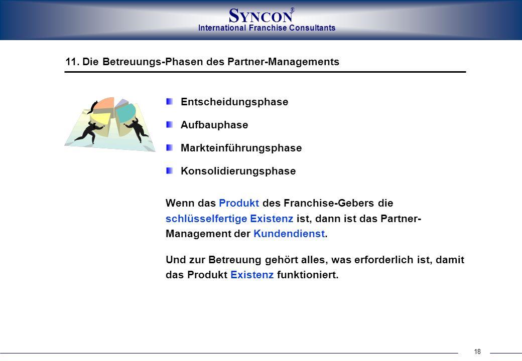 18 International Franchise Consultants S YNCON ® 11. Die Betreuungs-Phasen des Partner-Managements Entscheidungsphase Aufbauphase Markteinführungsphas