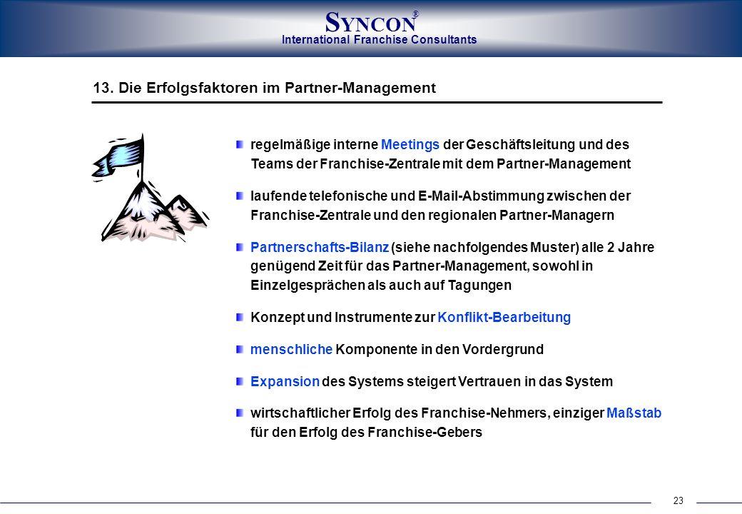 23 International Franchise Consultants S YNCON ® regelmäßige interne Meetings der Geschäftsleitung und des Teams der Franchise-Zentrale mit dem Partne