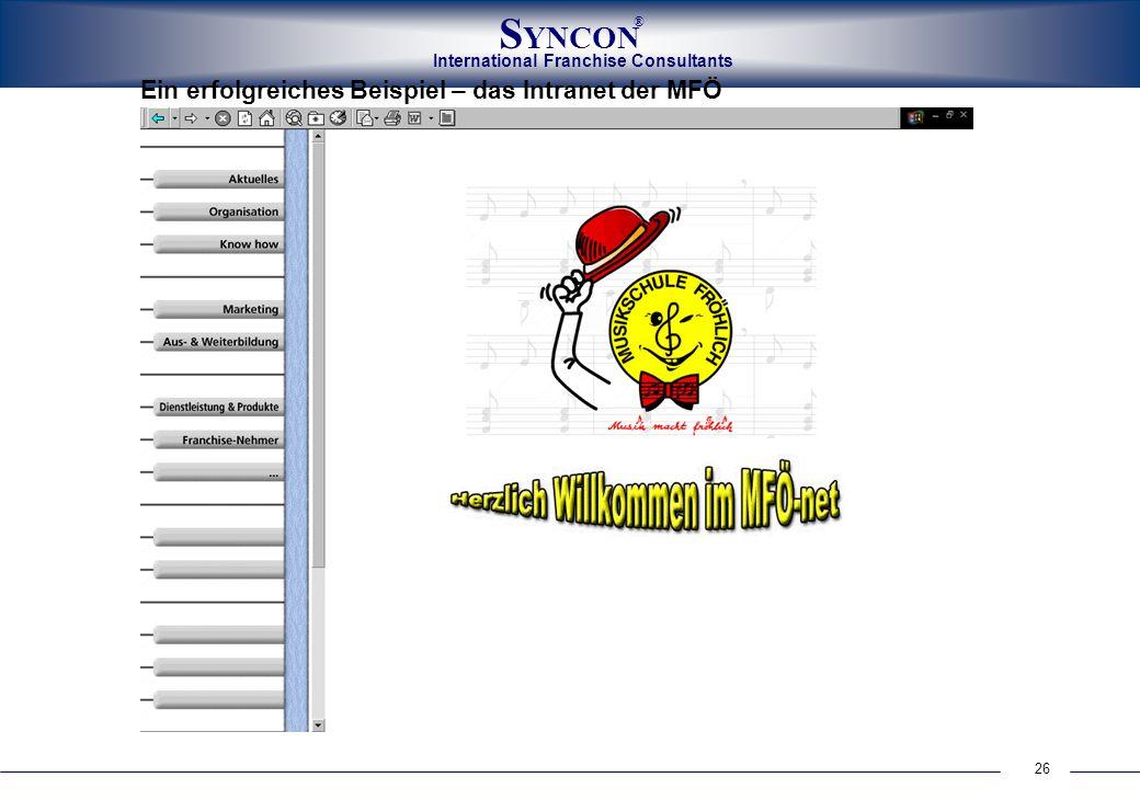 26 International Franchise Consultants S YNCON ® Ein erfolgreiches Beispiel – das Intranet der MFÖ