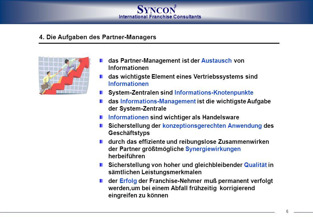 6 International Franchise Consultants S YNCON ® das Partner-Management ist der Austausch von Informationen das wichtigste Element eines Vertriebssyste
