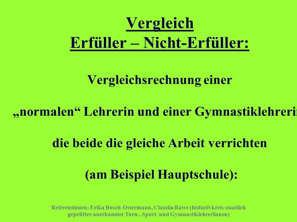 Referentinnen: Erika Busch-Ostermann, Claudia Rawe (Initiativkreis staatlich geprüfter/anerkannter Turn-, Sport- und GymnastiklehrerInnen) Vergleich E