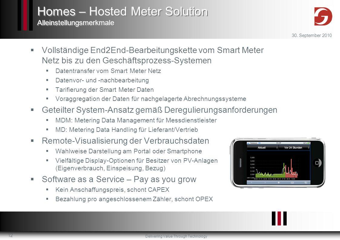 Delivering Value Through Technology 30. September 2010 12 Vollständige End2End-Bearbeitungskette vom Smart Meter Netz bis zu den Geschäftsprozess-Syst