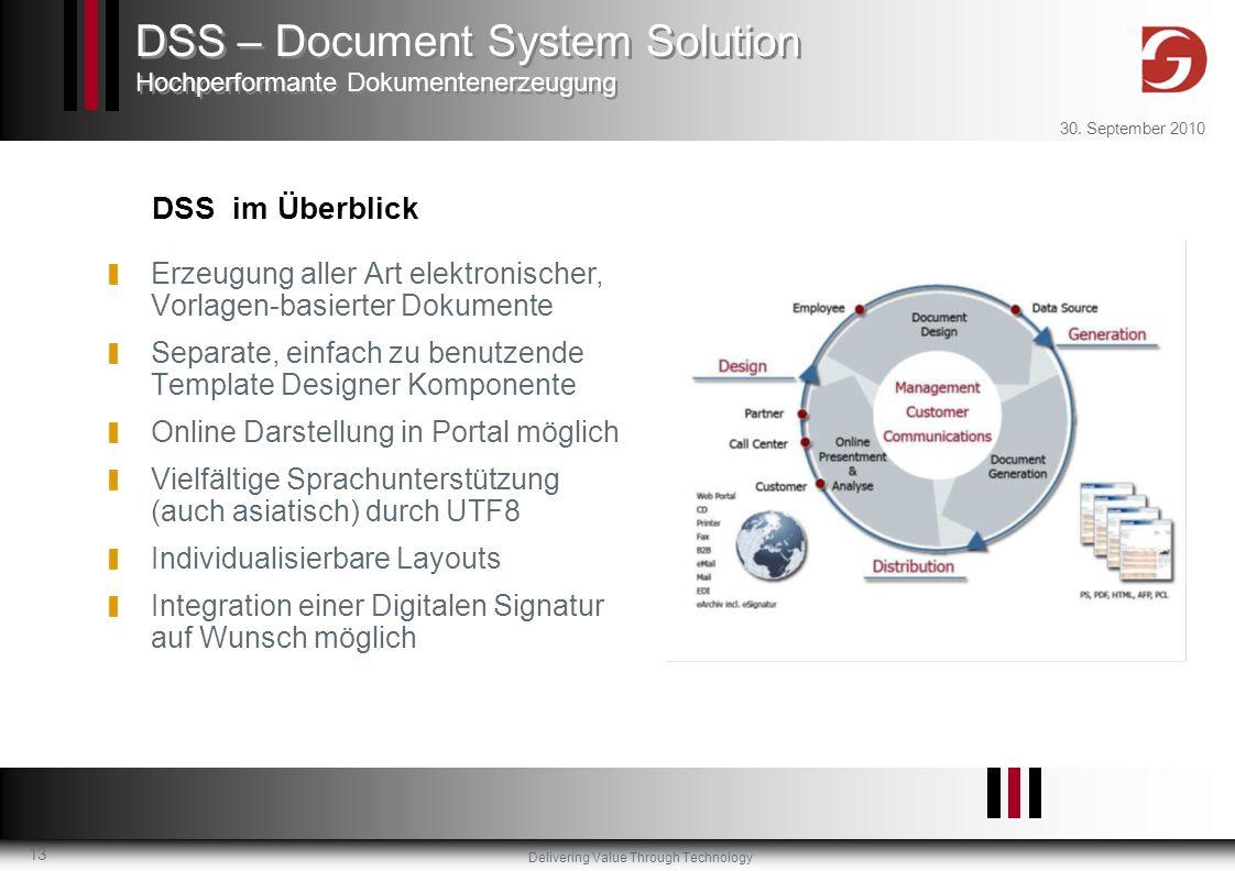 Delivering Value Through Technology 30. September 2010 13 Erzeugung aller Art elektronischer, Vorlagen-basierter Dokumente Separate, einfach zu benutz