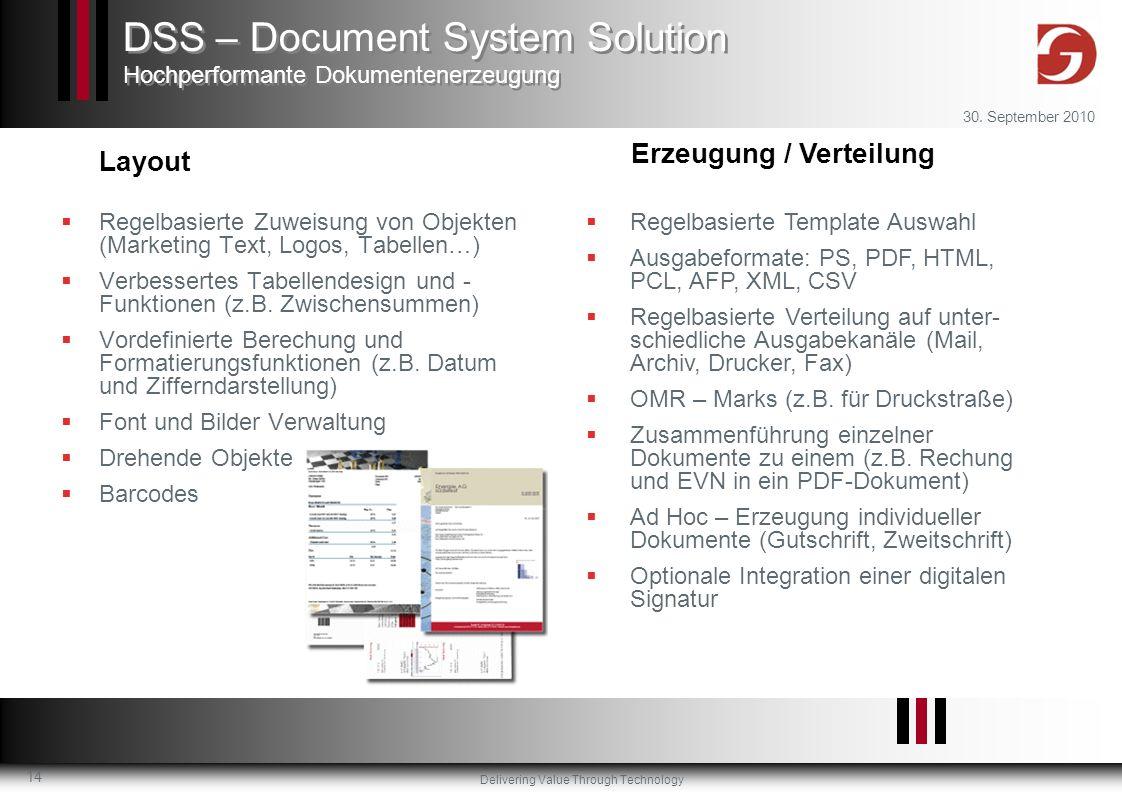 Delivering Value Through Technology 30. September 2010 14 Regelbasierte Zuweisung von Objekten (Marketing Text, Logos, Tabellen…) Verbessertes Tabelle