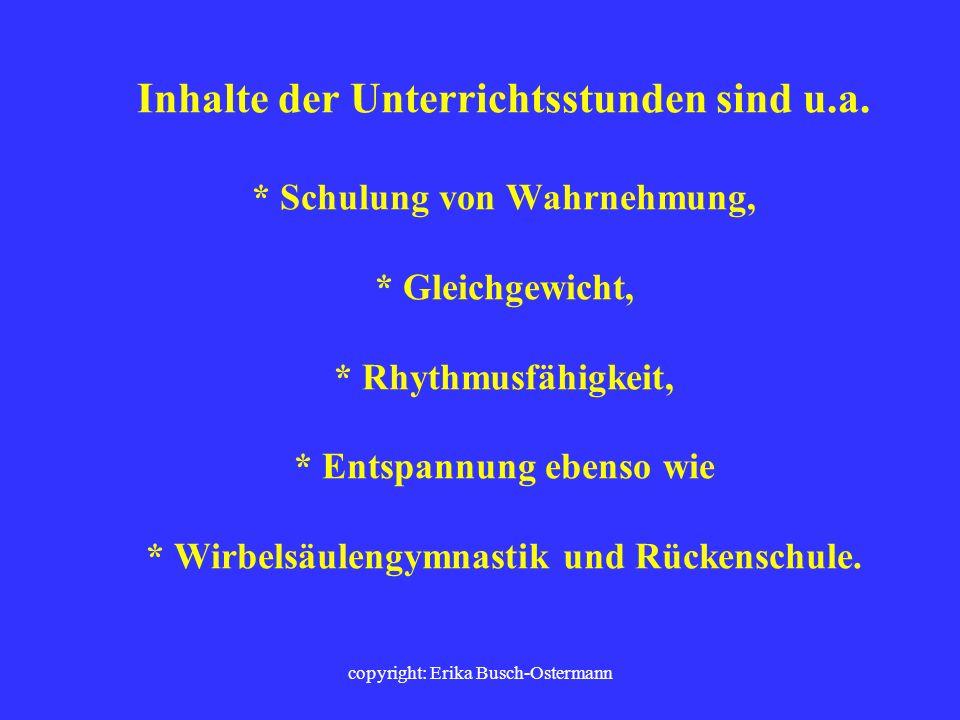 copyright: Erika Busch-Ostermann SPORTFÖRDERUNTERRICHT (SFU) Ziel des Sportförderunterrichtes ist die individuelle psycho-motorische, sport-motorische