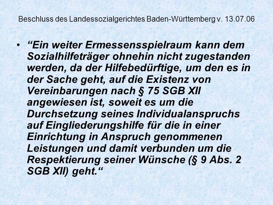 Beschluss des Landessozialgerichtes Baden-Württemberg v.