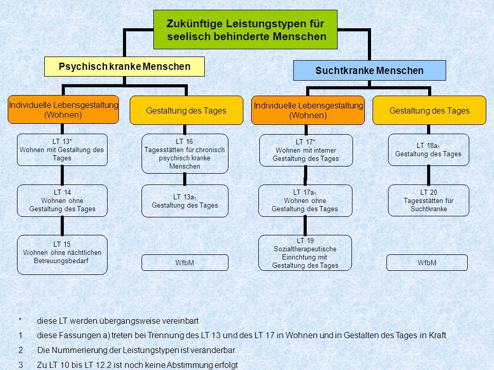 WfbM *diese LT werden übergangsweise vereinbart 1diese Fassungen a) treten bei Trennung des LT 13 und des LT 17 in Wohnen und in Gestalten des Tages i