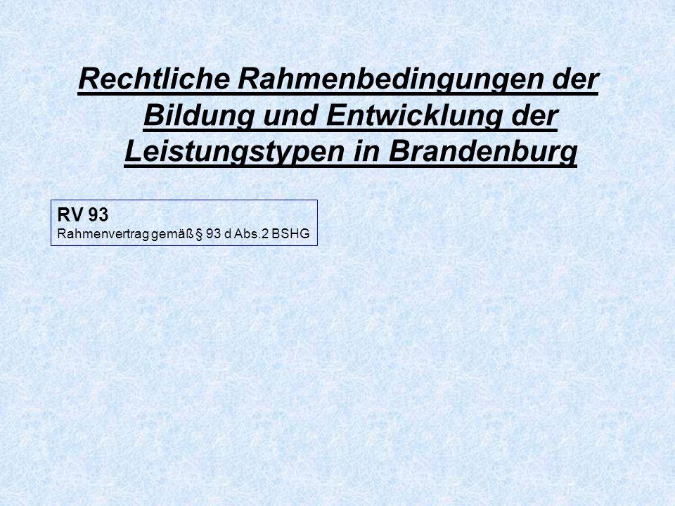 Rechtliche Rahmenbedingungen der Bildung und Entwicklung der Leistungstypen in Brandenburg RV 93 Rahmenvertrag gemäß § 93 d Abs.2 BSHG RV 79 Rahmenvertrag gemäß § 79 Abs.1 SGB XII