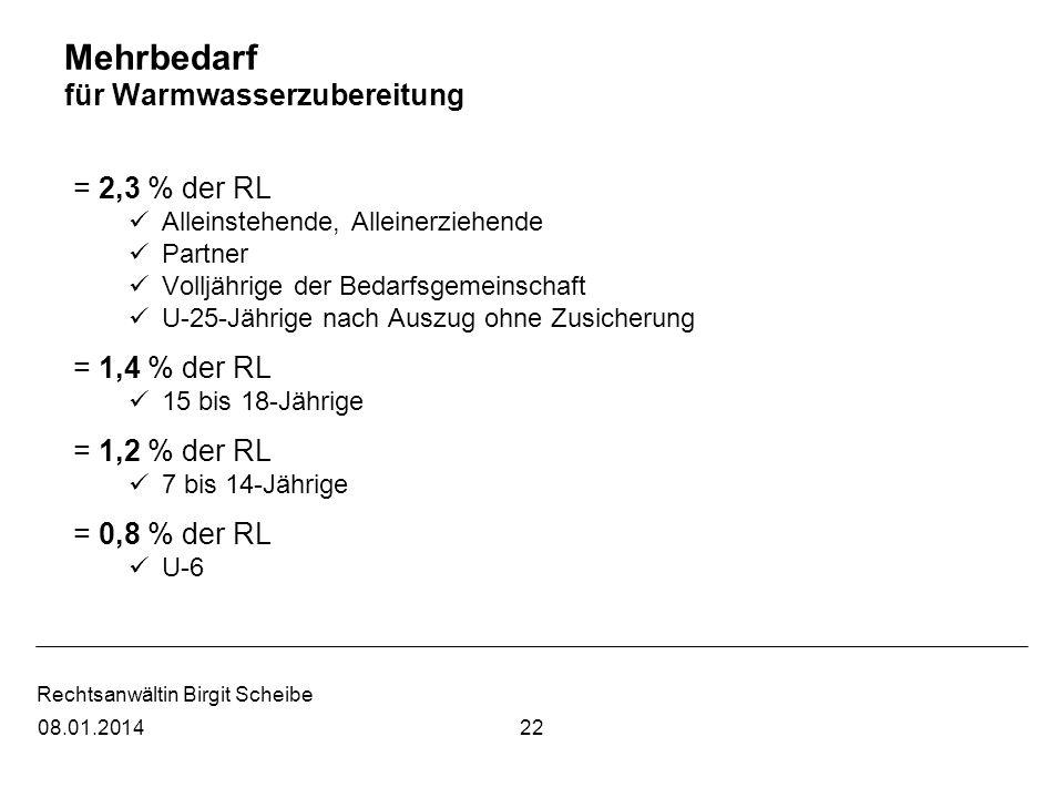 Rechtsanwältin Birgit Scheibe Mehrbedarf für Warmwasserzubereitung = 2,3 % der RL Alleinstehende, Alleinerziehende Partner Volljährige der Bedarfsgeme