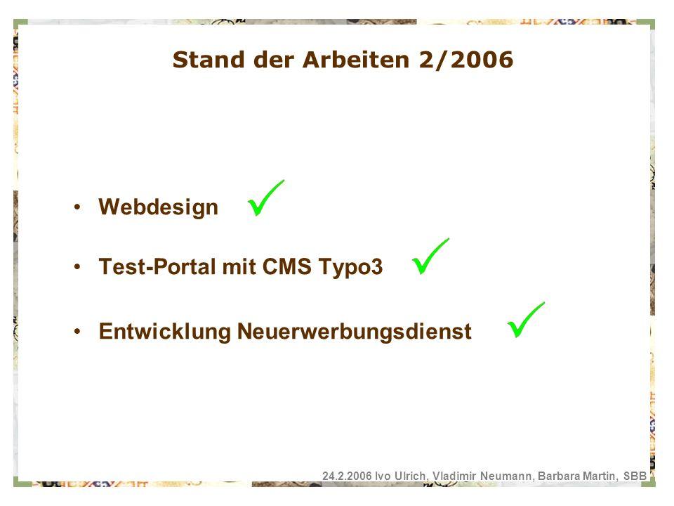 Webdesign Test-Portal mit CMS Typo3 Entwicklung Neuerwerbungsdienst Stand der Arbeiten 2/2006 24.2.2006 Ivo Ulrich, Vladimir Neumann, Barbara Martin, SBB