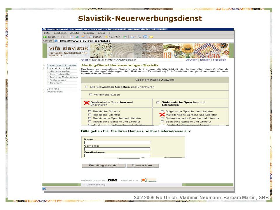 Slavistik-Neuerwerbungsdienst