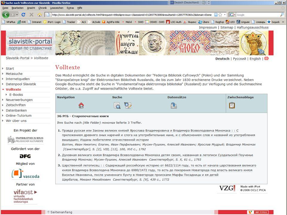 08.01.2014 |Slavistik-Portal | Osteuropa-AbteilungS. 18 Modul 4 - Volltext-Modul Beispiel