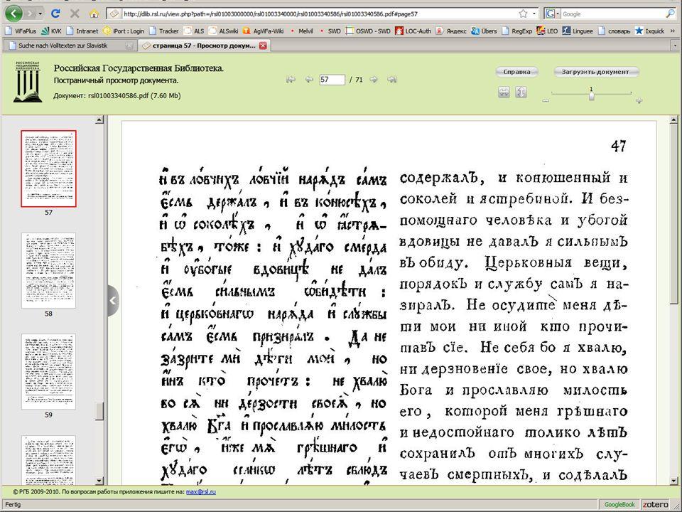 08.01.2014 |Slavistik-Portal | Osteuropa-AbteilungS. 21 Modul 4 - Volltext-Modul Beispiel