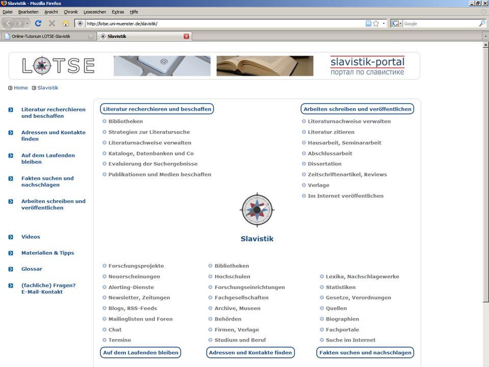 08.01.2014 |Slavistik-Portal | Osteuropa-AbteilungS. 28 Online-Tutorium (LOTSE Slavistik) zum Online-Tutorium