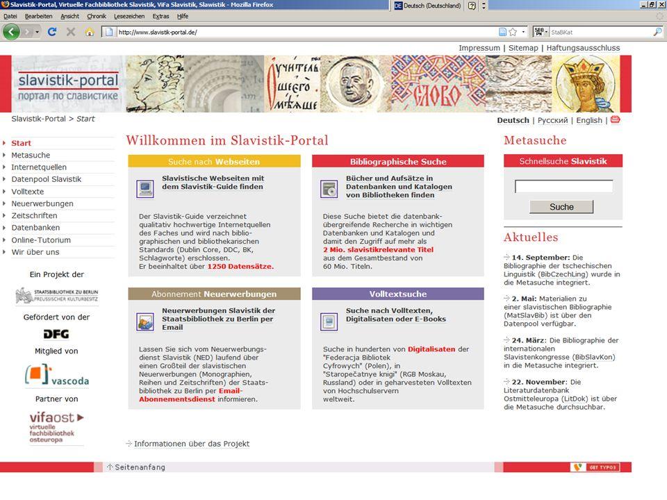 08.01.2014 |Slavistik-Portal | Osteuropa-AbteilungS. 15 Datenpool Slavistik zum Datenpool