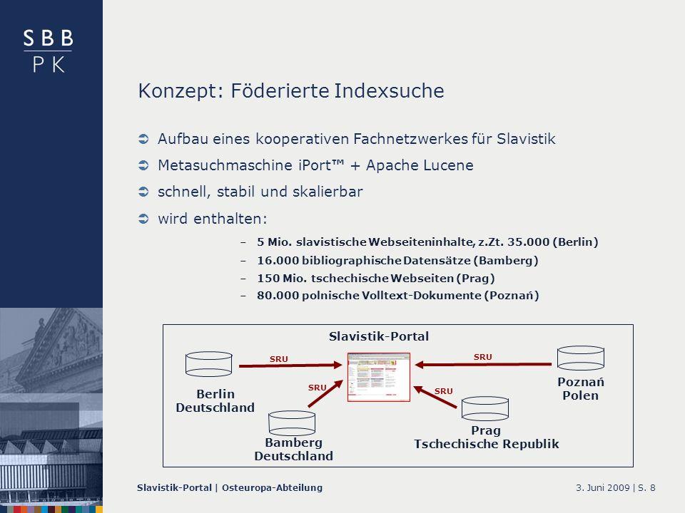 3. Juni 2009 |Slavistik-Portal | Osteuropa-AbteilungS. 8 Aufbau eines kooperativen Fachnetzwerkes für Slavistik Metasuchmaschine iPort + Apache Lucene