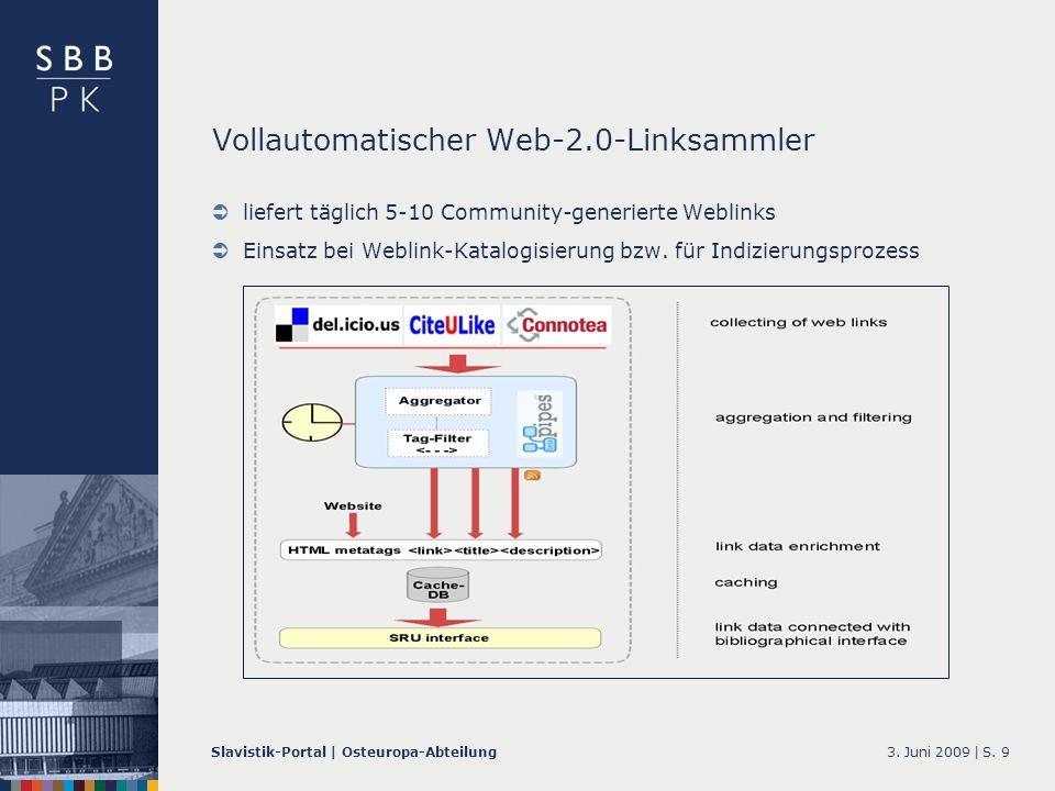 3. Juni 2009 |Slavistik-Portal | Osteuropa-AbteilungS. 9 Vollautomatischer Web-2.0-Linksammler liefert täglich 5-10 Community-generierte Weblinks Eins
