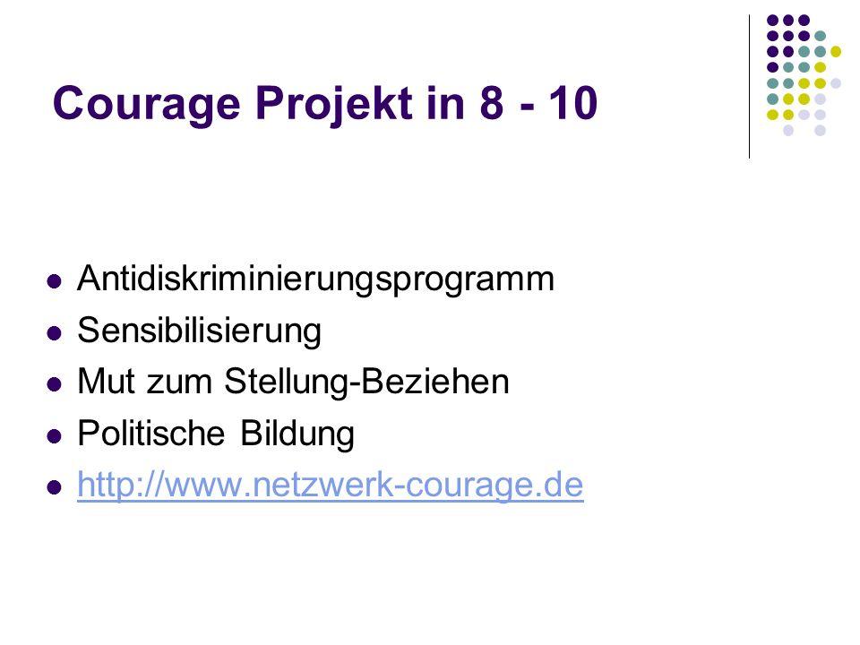 Courage Projekt in 8 - 10 Antidiskriminierungsprogramm Sensibilisierung Mut zum Stellung-Beziehen Politische Bildung http://www.netzwerk-courage.de