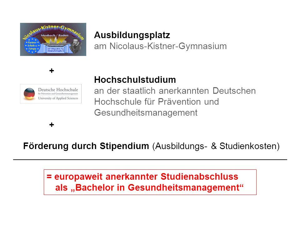 Hochschulstudium an der staatlich anerkannten Deutschen Hochschule für Prävention und Gesundheitsmanagement Ausbildungsplatz am Nicolaus-Kistner-Gymna