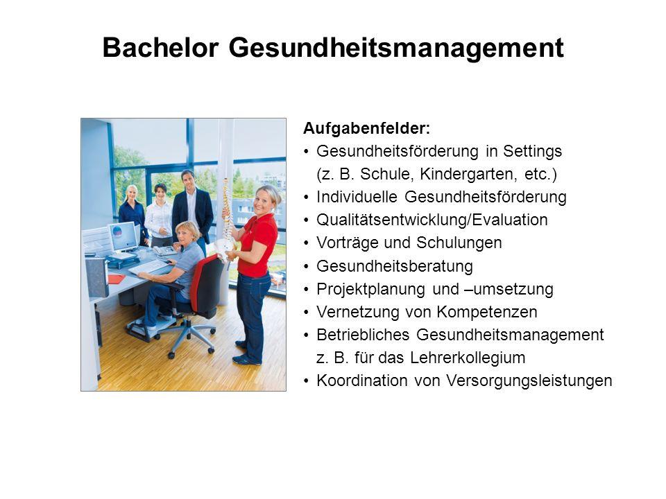 Bachelor Gesundheitsmanagement Aufgabenfelder: Gesundheitsförderung in Settings (z. B. Schule, Kindergarten, etc.) Individuelle Gesundheitsförderung Q