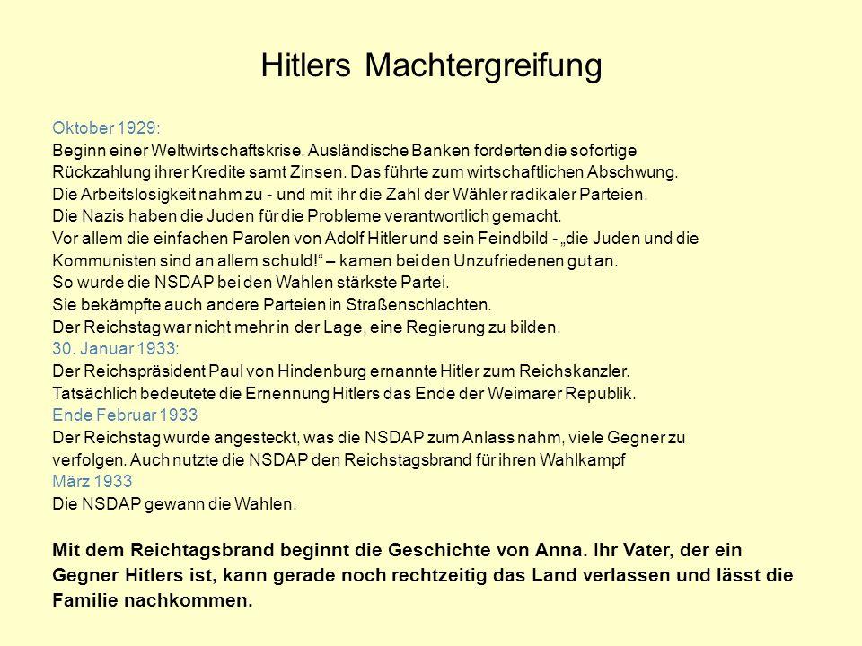 Hitlers Machtergreifung Oktober 1929: Beginn einer Weltwirtschaftskrise.