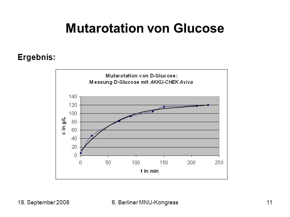 19. September 20086. Berliner MNU-Kongress11 Mutarotation von Glucose Ergebnis: