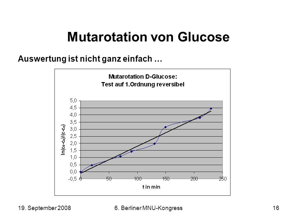 19. September 20086. Berliner MNU-Kongress16 Mutarotation von Glucose Auswertung ist nicht ganz einfach …