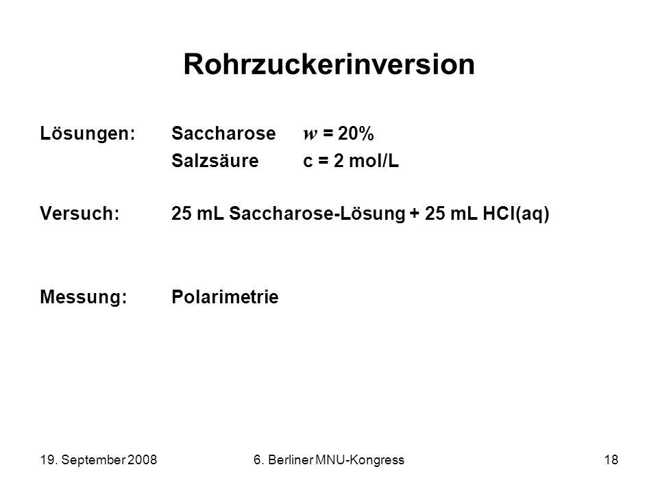19. September 20086. Berliner MNU-Kongress18 Rohrzuckerinversion Lösungen:Saccharose w = 20% Salzsäure c = 2 mol/L Versuch:25 mL Saccharose-Lösung + 2