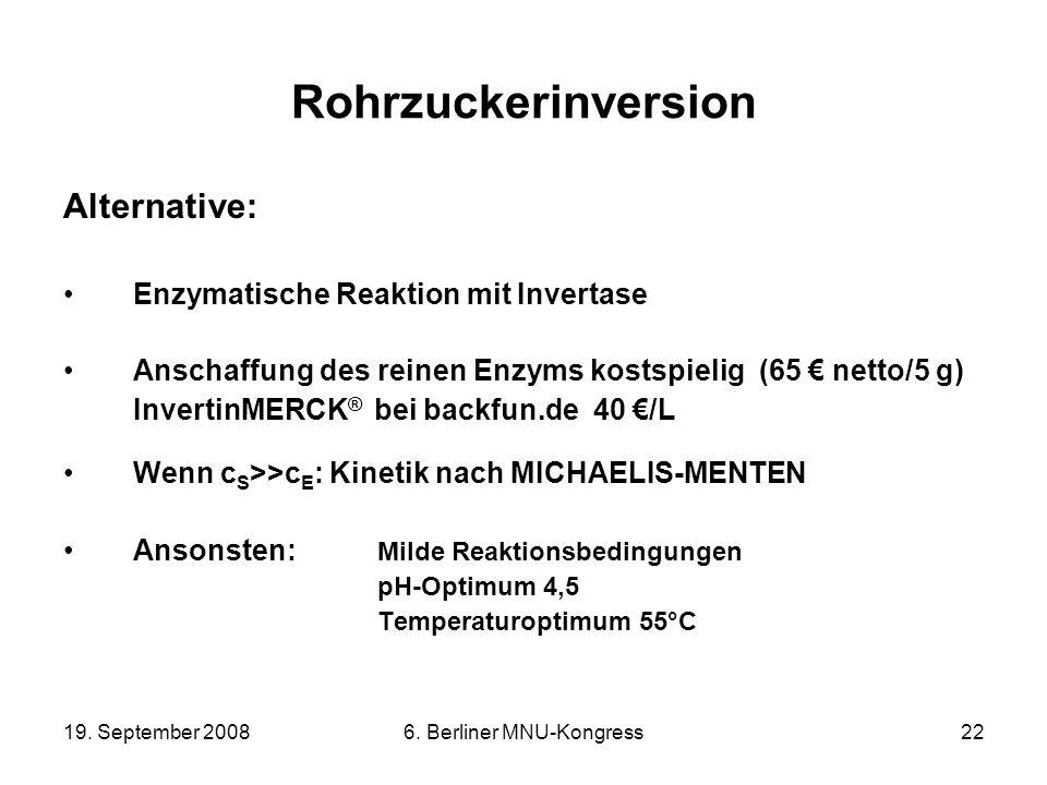 19. September 20086. Berliner MNU-Kongress22 Rohrzuckerinversion Alternative: Enzymatische Reaktion mit Invertase Anschaffung des reinen Enzyms kostsp