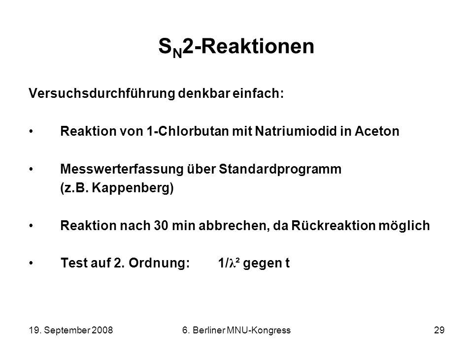 19. September 20086. Berliner MNU-Kongress29 S N 2-Reaktionen Versuchsdurchführung denkbar einfach: Reaktion von 1-Chlorbutan mit Natriumiodid in Acet